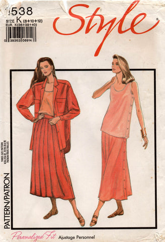 Style 1538 Womens Shirt Vest & Skirt 1990s Vintage Sewing Pattern Sizes 8 - 12 UNCUT Factory Folded
