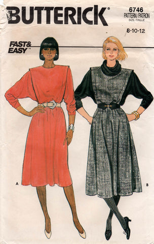 Butterick 6746 Womens Batwing Sleeve Dress 1980s Vintage Sewing Pattern Size 8 - 12 UNCUT Factory Folded