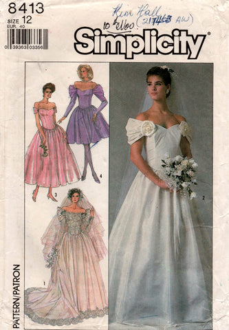 Simplicity 8413 Womens Off The Shoulder Wedding Bridesmaids Dress 1980s Vintage Sewing Pattern Size 12 UNCUT Factory Folded