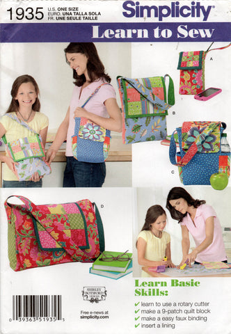 Simplicity 1935 Womens Quilted Patchwork Bags Out Of Print Sewing Pattern UNCUT Factory Folds