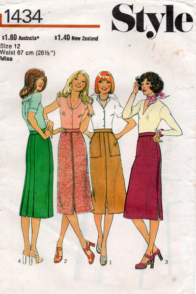 Style 1434 Womens Straight Skirts 1970s Vintage Sewing Pattern Size 12 or 16