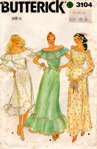 Butterick 3104 Womens Ruffled Bridesmaids or Prom Dress 1980s Vintage Sewing Pattern Size 12 UNCUT Factory Folded