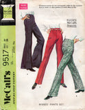 McCall's 9517 Womens Stovepipe Bell Bottom or Flared Pants 1960s Vintage Sewing Pattern Waist 27 Inches UNCUT Factory Folded