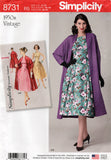 Simplicity 8731 Womens Reissued 50s Dress & Swing Jacket OOP Sewing Pattern Size 6 - 14 & 14 - 22 UNCUT Factory Folds