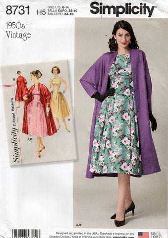 simplicity 8731 50s reissued dress and jacket