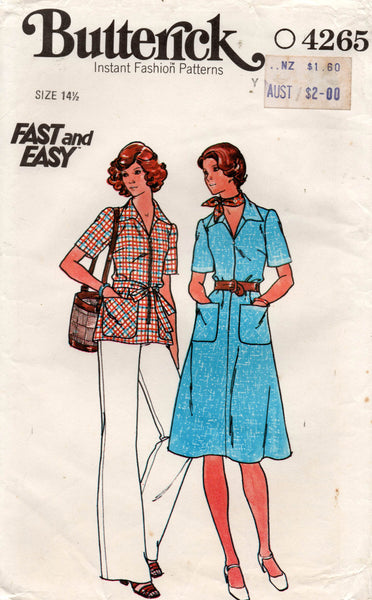 Butterick 4265 Womens Half Size Dress Top & Pants 1970s Vintage Sewing Pattern Bust 37 inches UNCUT Factory Folds