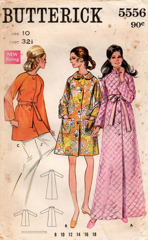 Butterick 5556 Womens Robe in 3 Lengths 1960s Vintage Sewing Pattern Size 10 Bust 32.5 inches