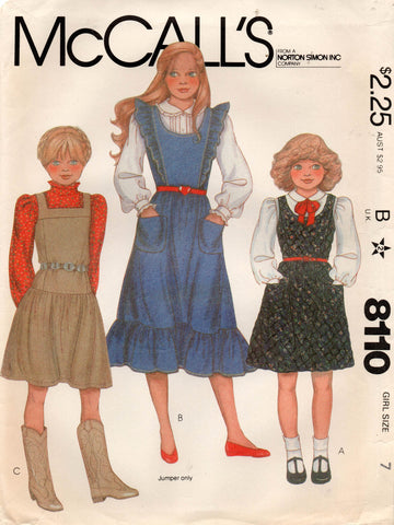 McCall's 8110 Girl's Pinafore Dress 1970s Vintage Sewing Pattern Size 7 UNCUT Factory Folded