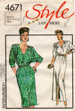 Style 4671 Womens Batwing Sleeved Dress 1980s Vintage Sewing Pattern 10 - 14