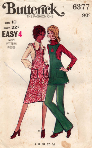 butterick 6377 70s dress top pants
