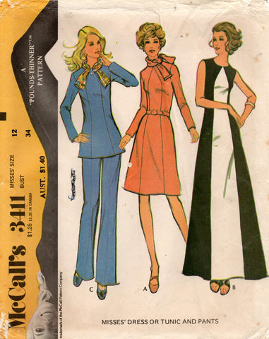 McCall's 3411 70s dress top pants
