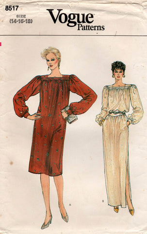 Vogue 8517 Womens Gathered Yoke Dress 1970s Vintage Sewing Pattern Size 14 - 18
