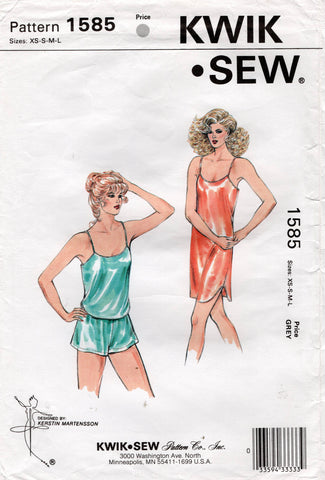 Kwik Sew 1585 Womens Bias Cut Camisole Tap Pants & Slip Nightie 1980s Vintage Sewing Pattern Size XS - L UNCUT Factory Folded
