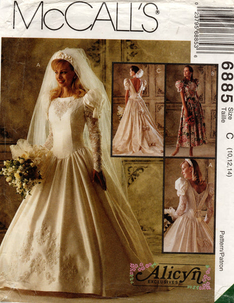 McCall's 6885 90s wedding dress