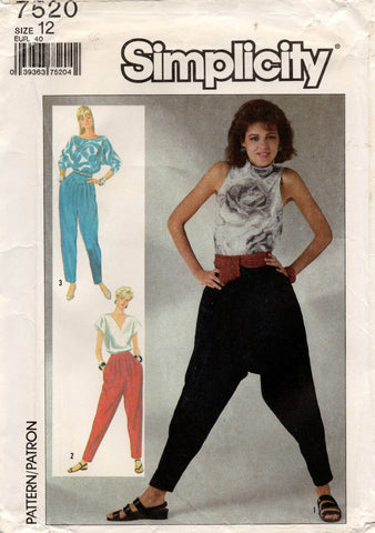 Simplicity 7520 Womens Retro Pleated Dropped Crotch Pants 1980s Vintage Sewing Pattern Size 12 UNCUT Factory Folds
