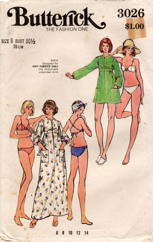 butterick 3026 70s bikini and cover up