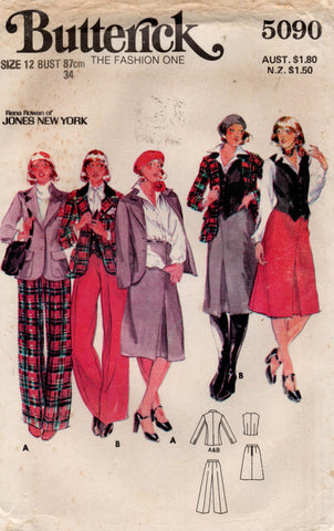 Butterick 5090 Womens JONES NEW YORK Jacket Vest Skirt & Pants 1970s Vintage Sewing Pattern Size 12 UNCUT Factory Folded