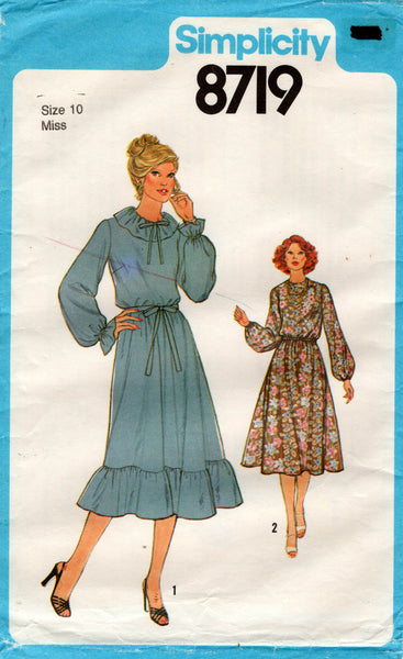 Simplicity 8719 Womens Blouson Dress with Ruffles 1970s Vintage Sewing Pattern Size 10