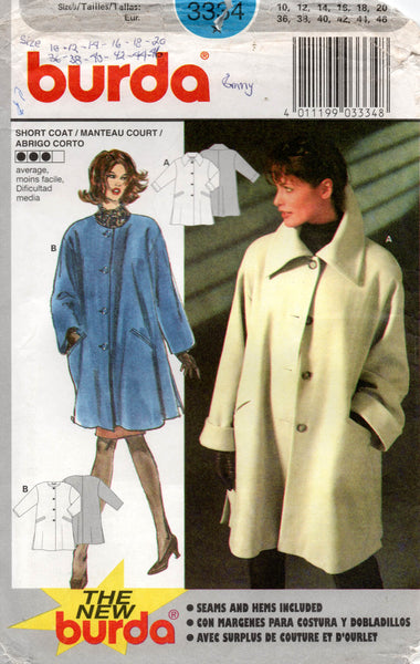 Burda 3334 Womens Swing Coat with Welt Pockets 1990s Vintage Sewing Pattern Sizes 10 - 20 UNCUT Factory Folds