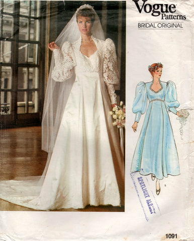 vogue 1091 80s wedding dress