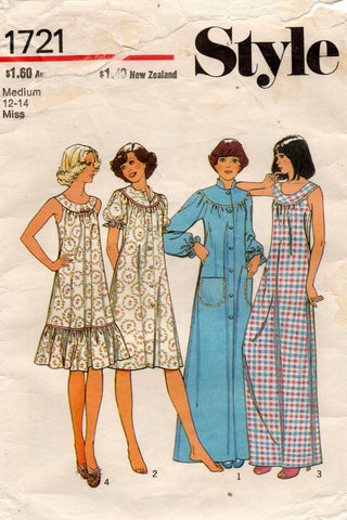 Style 1721 Womens Nightgown & Maxi Robe / Housecoat 1970s Vintage Sewing Pattern Size MEDIUM 12 - 14