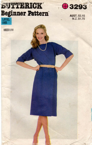 Butterick 3293 Womens Beginners Dress No Buttons or Zip 1980s Vintage Sewing Pattern Size MEDIUM 12 - 14 UNCUT Factory Folded