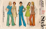 Style 4207 Womens Zip Front Dress Tunic & Pants 1970s Vintage Sewing Pattern Size 14 Bust 36 inches