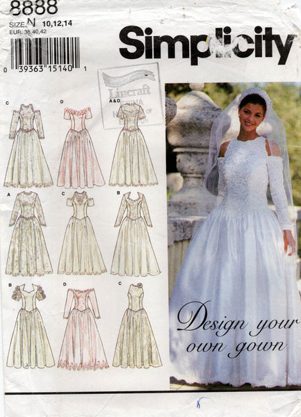 simplicity 8888 90s wedding dress