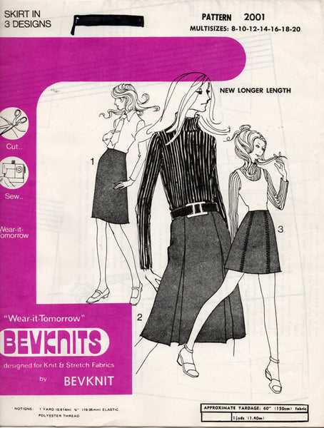 Bevknits 2001 Womens Stretch Pleated Skirts 1970s Vintage Sewing Pattern Size 8 - 20 UNCUT