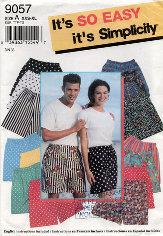 Simplicity 9057 Mens Womens Teens Unisex Boxer Shorts Pattern Size XXS - XL UNCUT Factory Folds