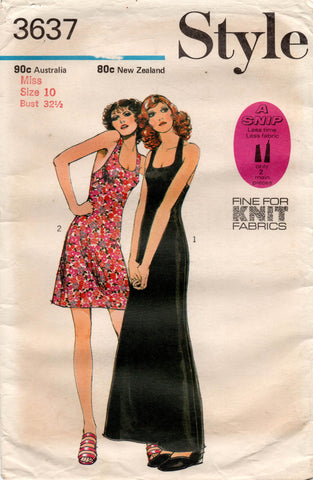 Style 3637 Womens EASY Halter Mini or Maxi Dress 1970s Vintage Sewing Pattern Size 10 UNCUT Factory Folds