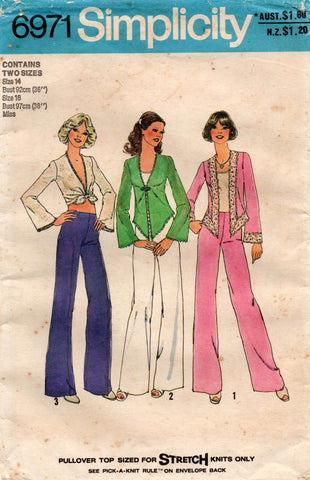 Simplicity 6971 Womens Stretch Tie Top & Wide Leg Pants 1970s Vintage Sewing Pattern Size 14 & 16 UNCUT Factory Folded