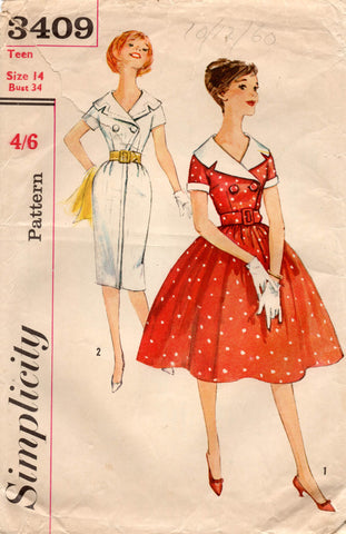 Simplicity 3409 Teen Girls Coatdress 1960s Vintage Sewing Pattern Size 14 Bust 34 inches