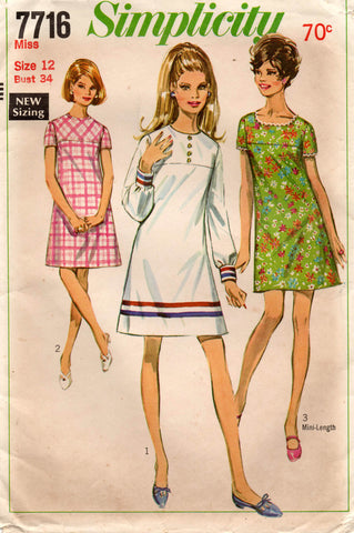 Simplicity 7716 Womens Shift Dress with Yoke 1960s Vintage Sewing Pattern Size 12 Bust 34 inches
