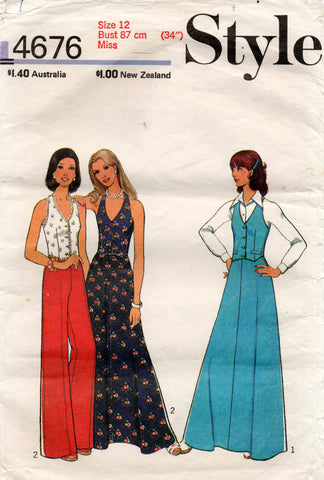 Style 4676 Womens Halter Vest Skirt & Flared Pants 1970s Vintage Sewing Pattern Size 12
