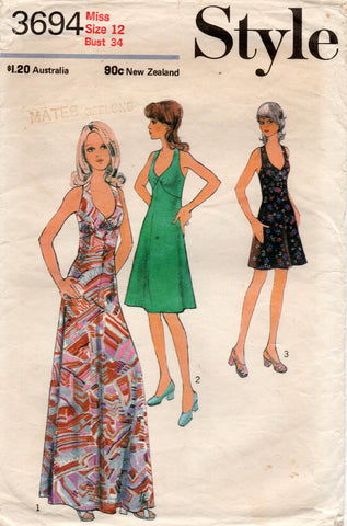 Style 3694 Womens Halter Dress or Maxi 1970s Vintage Sewing Pattern Size 12
