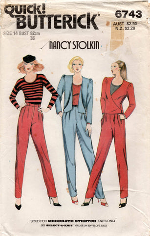 butterick 6743 nancy stolkin pants suit
