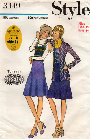 Style 3449 EASY Womens Cardigan Bias Skirt & Stretch Tank Top 1970s Vintage Sewing Pattern Size 12