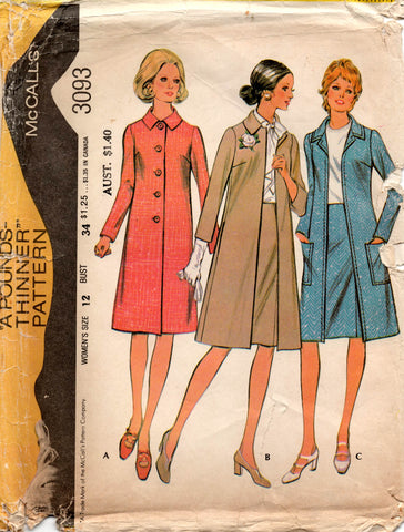 McCall's 3093 Womens Retro Coat & Skirt 1970s Vintage Sewing Pattern Size 12 UNCUT Factory Folded