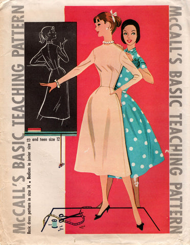 McCall's Basic Teaching Pattern 1950s Vintage Sewing Pattern Junior Teen Misses Bust 34 inches UNCUT Factory Folded