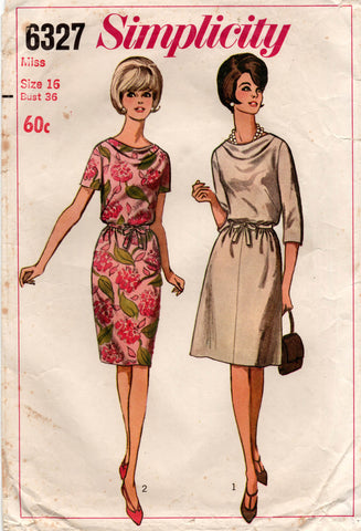 Simplicity 6327 Womens Cowl Neck Dress 1960s Vintage Sewing Pattern Size 16 Bust 36 inches