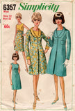 Simplicity 6357 Womens High Waisted Dress & Coat 1960s Vintage Sewing Pattern Size 12 Bust 32 inches UNUSED Factory Folded