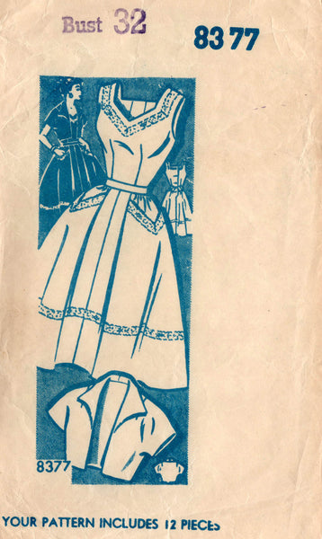 Mail Order 8377 Womens Full Skirt Dress & Bolero 1950s Vintage Sewing Pattern Bust 32 inches UNUSED Factory Folded