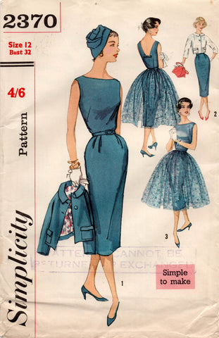 simplicity 2370 50s dress and jacket