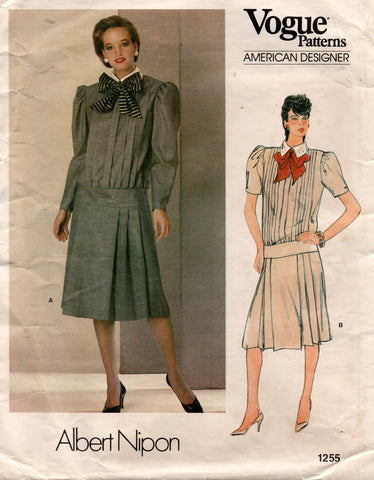 Vogue American Designer 1255 ALBERT NIPON Womens Drop Waisted Pleated Dress 1980s Vintage Sewing Pattern Size 14 UNCUT Factory Folded