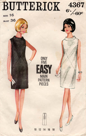Butterick 4367 Womens Funnel Neck Shift Dress 1960s Vintage Sewing Pattern Size 16 Bust 36 inches