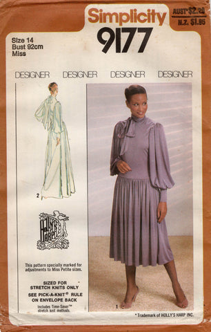 Simplicity 9177 HOLLY'S HARP Womens Stretch Drop Waisted Big Sleeve Dress 1970s Vintage Sewing Pattern Size 14 UNCUT Factory Folded