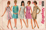 Simplicity 6535 Womens EASY Shift Dress 1960s Vintage Sewing Pattern Size 12 Bust 32 inches