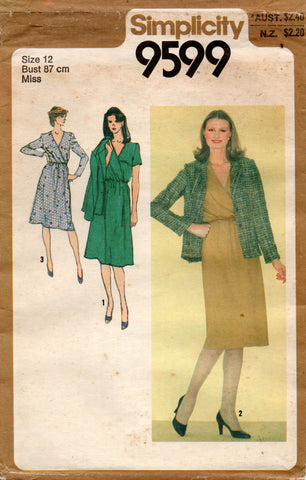 simplicity 9599 80s dress and jacket