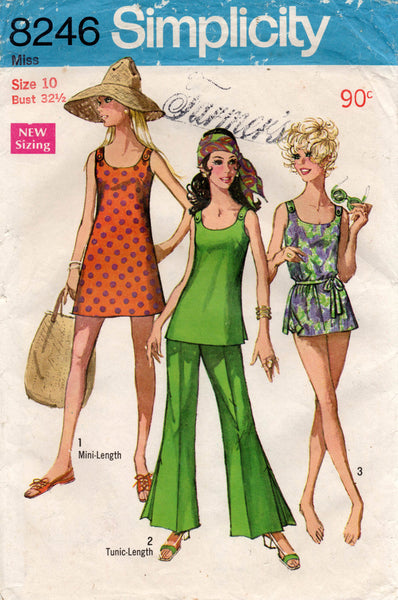 Simplicity 8246 Swimsuit Mini Dress Bell Bottom Pants 1960s Vintage Sewing Pattern Size 10